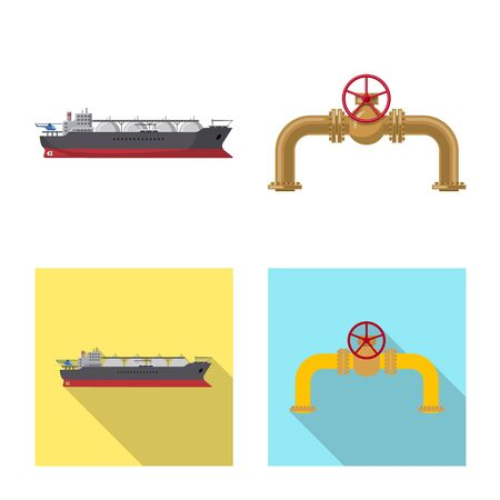 Isolated object of oil and gas logo. Collection of oil and petrol stock symbol for web.