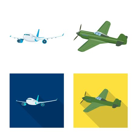 Vector illustration of plane and transport sign. Collection of plane and sky stock symbol for web. Иллюстрация