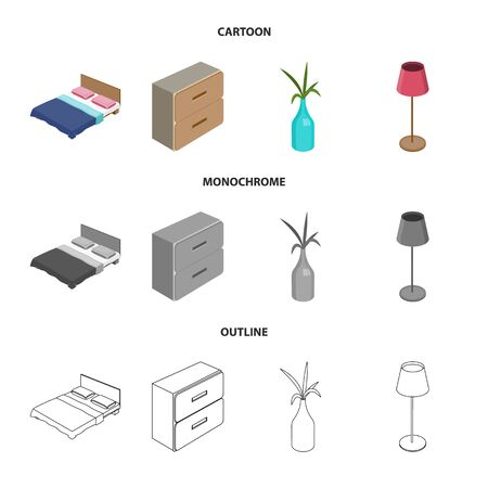 Vector illustration of bedroom and room symbol. Collection of bedroom and furniture vector icon for stock.