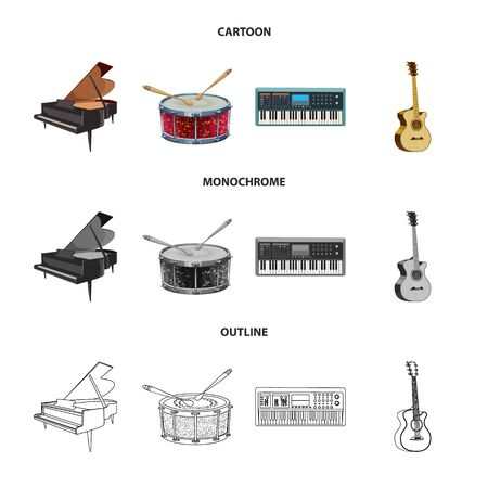 Vector design of music and tune icon. Collection of music and tool stock vector illustration.