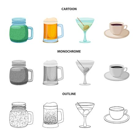 Vector design of drink and bar icon. Collection of drink and party stock vector illustration.