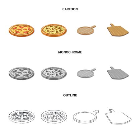 Vector design of pizza and food sign. Collection of pizza and italy stock vector illustration.