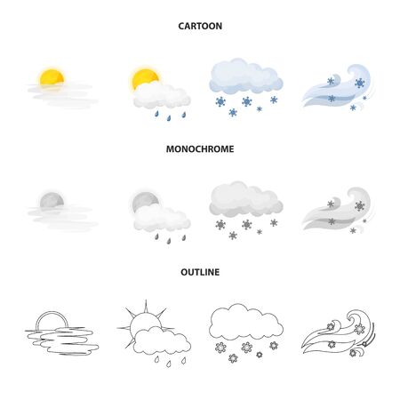Vector illustration of weather and climate icon. Collection of weather and cloud stock vector illustration. Illustration