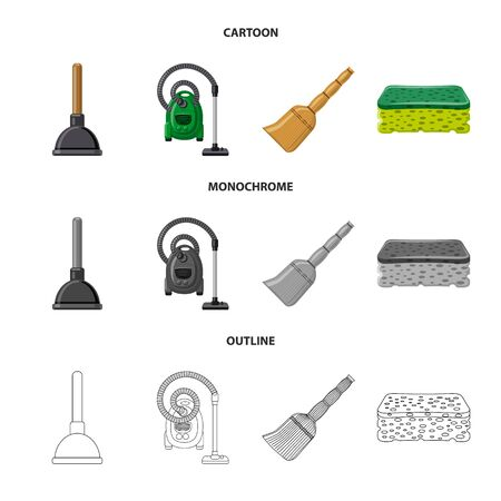 Isolated object of cleaning and service sign. Collection of cleaning and household vector icon for stock. 向量圖像
