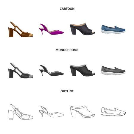 Vector illustration of footwear and woman logo. Collection of footwear and foot stock symbol for web. Ilustracja