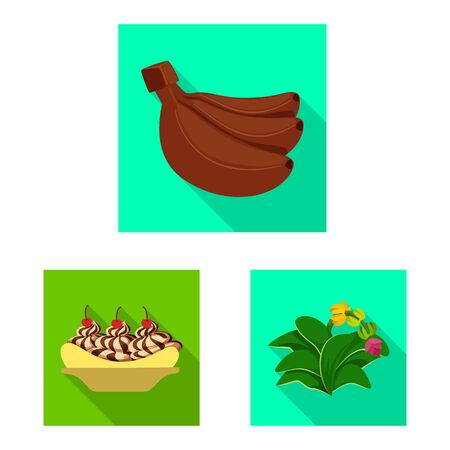 Isolated object of natural and vegetarian logo. Set of natural and eating stock vector illustration. 向量圖像