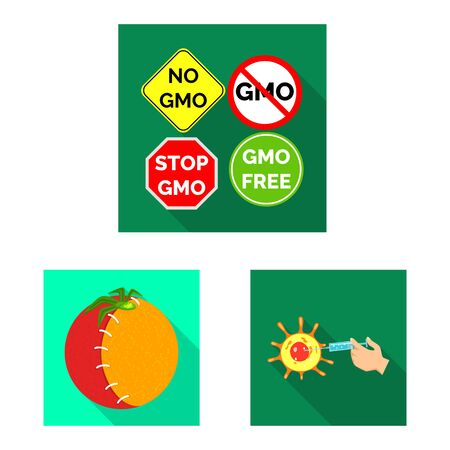 Vector illustration of test and synthetic sign. Set of test and laboratory stock symbol for web.