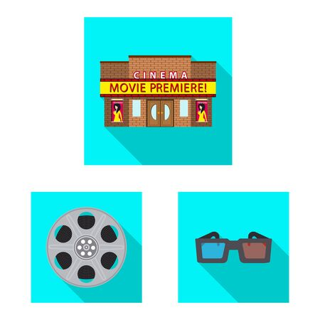 Vector design of television and filming logo. Collection of television and viewing vector icon for stock.