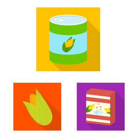 Vector design of cornfield and vegetable icon. Collection of cornfield and vegetarian vector icon for stock.