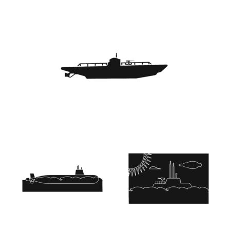 Isolated object of technology and fleet icon. Collection of technology and navy vector icon for stock.
