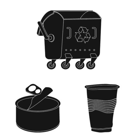 Isolated object of refuse and junk sign. Set of refuse and waste stock vector illustration.