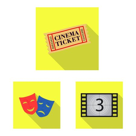 Isolated object of television and filming sign. Collection of television and viewing stock symbol for web.