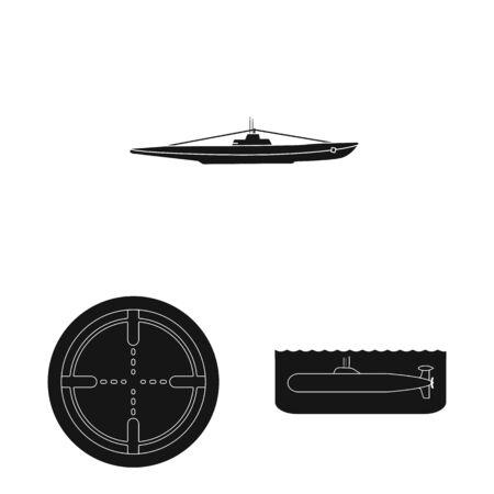 Vector design of technology and fleet logo. Set of technology and navy vector icon for stock. Illustration