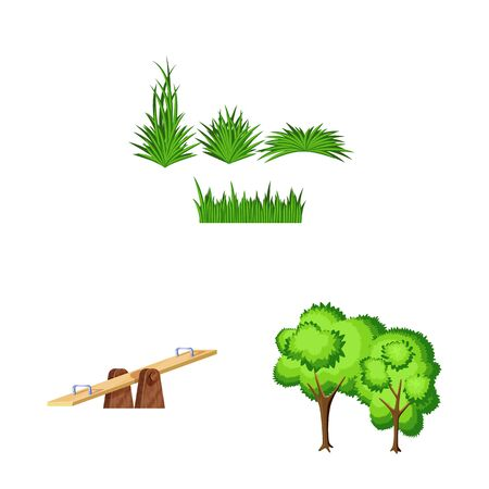 Vector illustration of landscape and park logo. Collection of landscape and nature vector icon for stock.