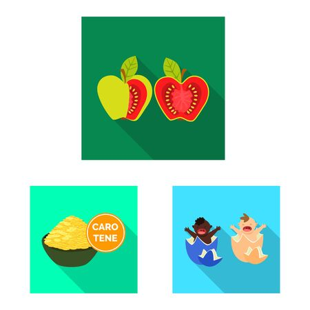 Vector illustration of test and synthetic sign. Set of test and laboratory stock vector illustration. Çizim