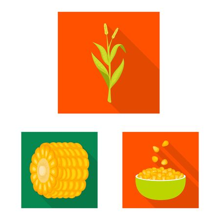 Isolated object of cornfield and vegetable icon. Set of cornfield and vegetarian stock symbol for web. Ilustrace