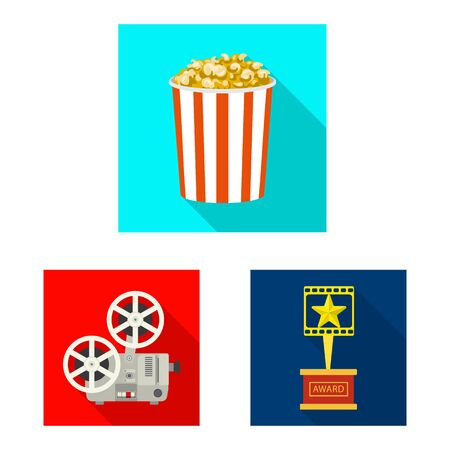 Vector illustration of television and filming icon. Collection of television and viewing vector icon for stock. Çizim