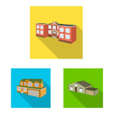 Vector illustration of facade and housing icon. Collection of facade and infrastructure vector icon for stock. Ilustrace