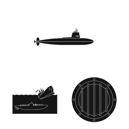 Vector illustration of technology and fleet logo. Collection of technology and navy stock vector illustration.