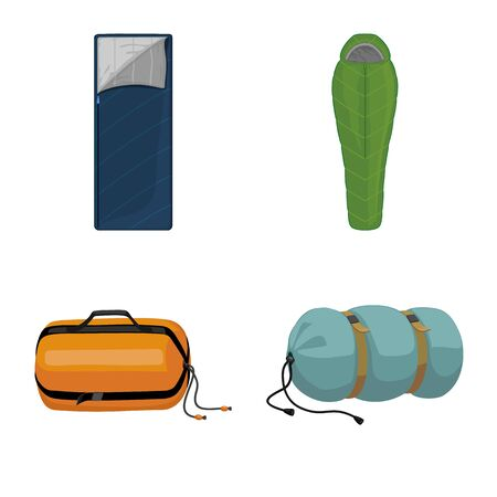 Isolated object of bag and sleep sign. Set of bag and fabric vector icon for stock.