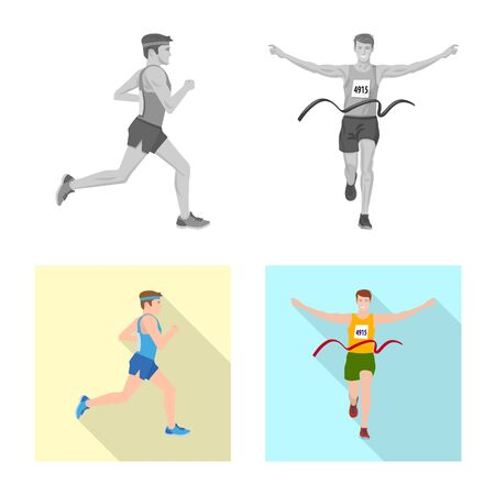 Vector design of sport and winner icon. Set of sport and fitness stock vector illustration.