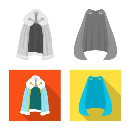 Isolated object of material and clothing icon. Set of material and garment vector icon for stock.
