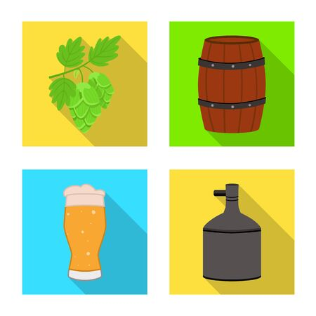 Vector illustration of brewery and brewing sign. Collection of brewery and ingredient stock symbol for web. Stock Illustratie