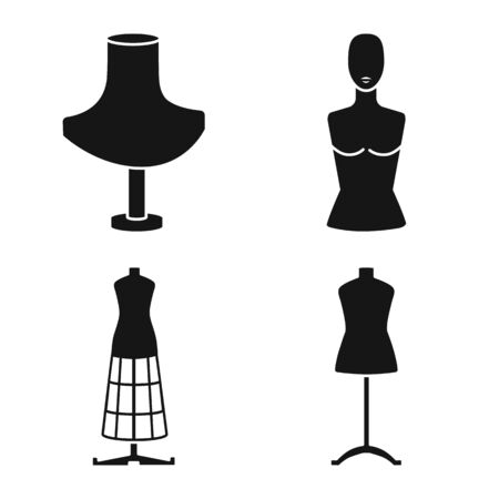 Vector design of mannequin and fashion icon. Collection of mannequin and equipment stock symbol for web. Archivio Fotografico - 130759757