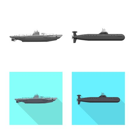 Vector design of war and ship icon. Collection of war and fleet stock vector illustration.