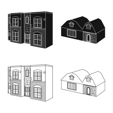 Vector design of facade and housing icon. Set of facade and infrastructure vector icon for stock.