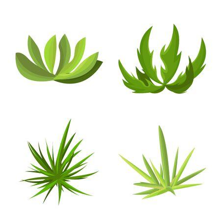 Vektordesign der Garten- und Grasikone. Satz Garten- und Strauchvorrat-Vektorillustration. Vektorgrafik