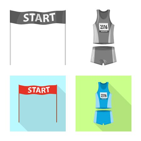 Vector design of sport and winner symbol. Set of sport and fitness stock symbol for web.