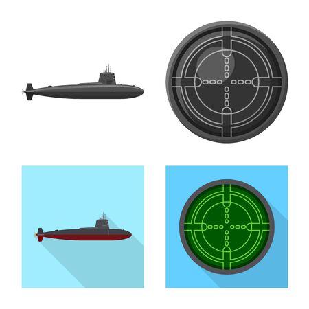 Vector design of war and ship logo. Collection of war and fleet vector icon for stock.
