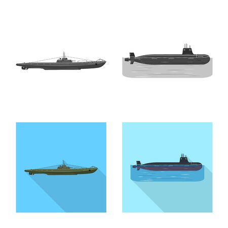 Vector design of war and ship symbol. Collection of war and fleet vector icon for stock. Illustration