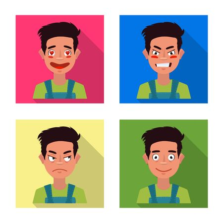 Vector illustration of face and boy symbol. Set of face and expression vector icon for stock.