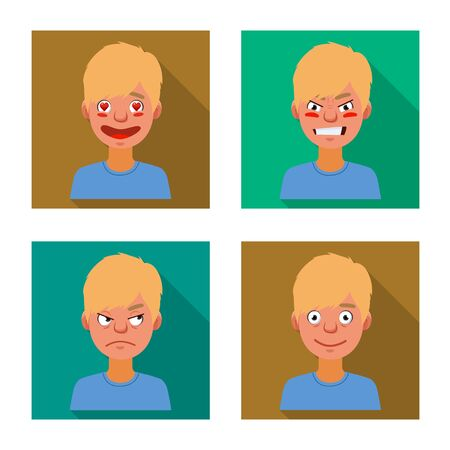 Isolated object of face and boy icon. Set of face and young stock symbol for web. Çizim