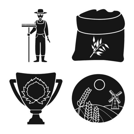 Vector illustration of farm and arable icon. Collection of farm and farming stock symbol for web. Standard-Bild - 130759881