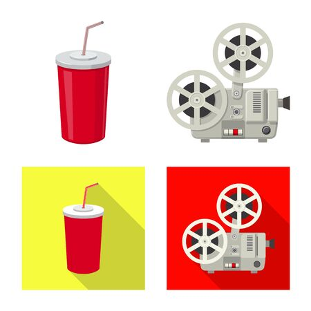 Isolated object of television and filming logo. Set of television and viewing vector icon for stock.