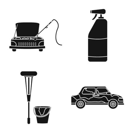 Vector illustration of carwash and care icon. Set of carwash and rinse stock symbol for web.
