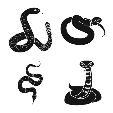 Isolated object of snake and creepy sign. Collection of snake and poison stock vector illustration.