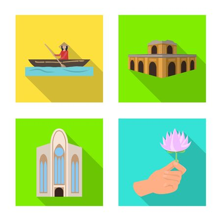 Vector illustration of travel and country symbol. Set of travel and asia vector icon for stock.