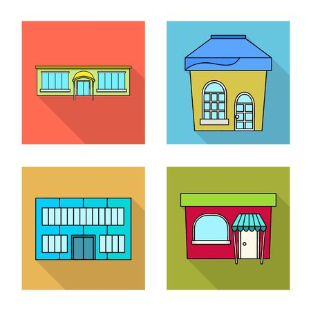 Vector design of supermarket and building icon. Set of supermarket and local stock symbol for web.