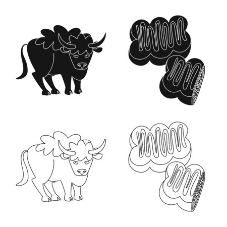 Vector design of traditional and tour icon. Set of traditional and landmarks stock vector illustration. Иллюстрация