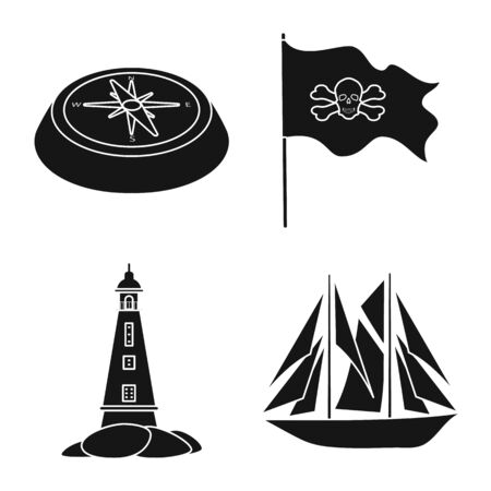 Vector illustration of journey and seafaring sign. Collection of journey and adventure stock vector illustration. Иллюстрация
