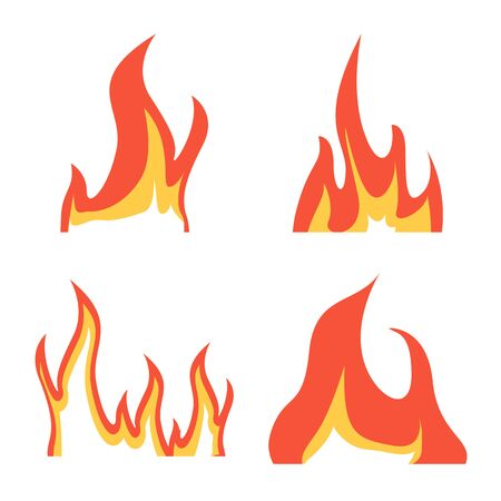 Isolated object of fire and red logo. Set of fire and campfire vector icon for stock. Иллюстрация