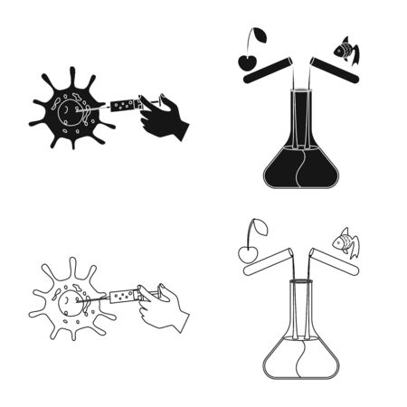 Isolated object of test and synthetic icon. Set of test and laboratory stock vector illustration.
