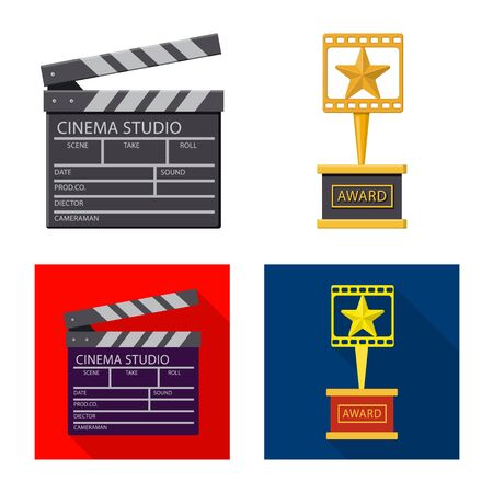 Vector illustration of television and filming sign. Set of television and viewing vector icon for stock. Çizim