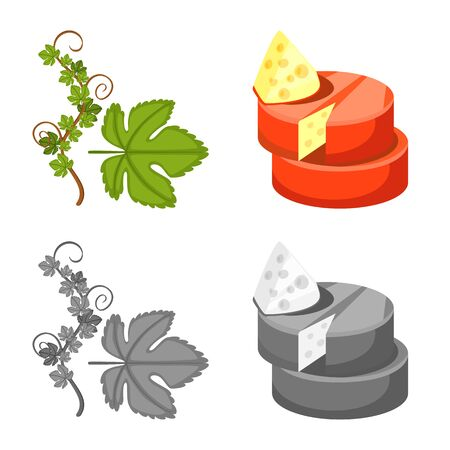 Isolated object of farm and vineyard symbol. Collection of farm and product stock vector illustration. Ilustração