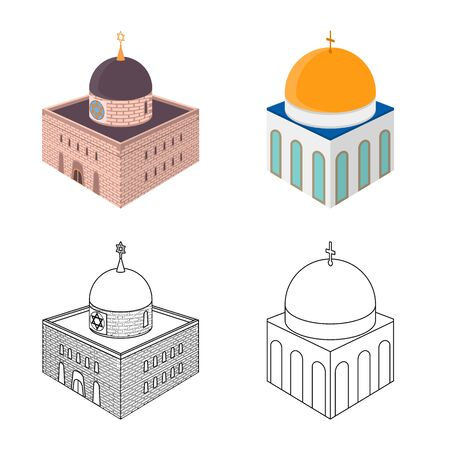Vector design of temple and historic symbol. Set of temple and faith stock vector illustration.