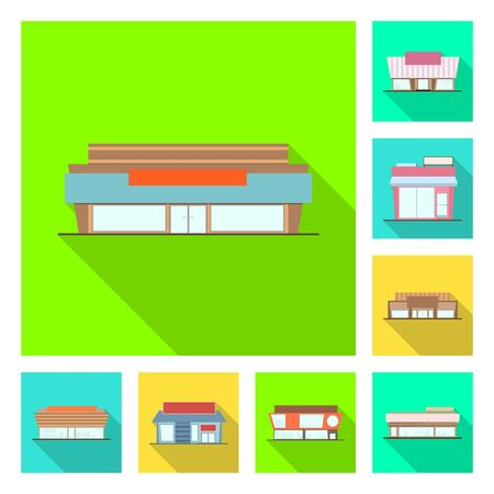 Isolated object of boutique and construction logo. Set of boutique and cityscape vector icon for stock.